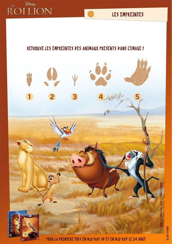 Jeu Le Roi Lion: les empreintes d'animaux