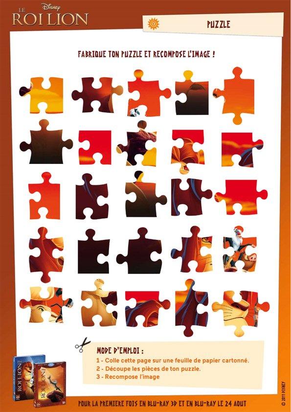 Jeu le roi lion puzzle - Puzzle dessin ...