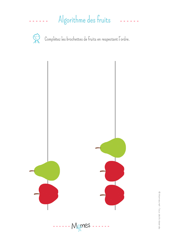 L'algorithme des brochettes de fruits: exercice