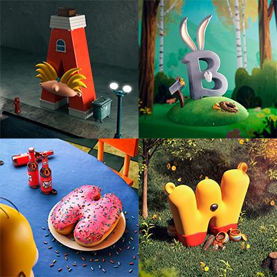 alphabet dessin animés célèbres