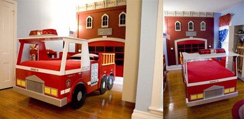 La chambre du pompier - Deco chambre enfant voiture ...