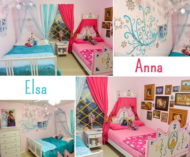 la chambre d 39 enfant elsa et anna de la reine des neiges. Black Bedroom Furniture Sets. Home Design Ideas