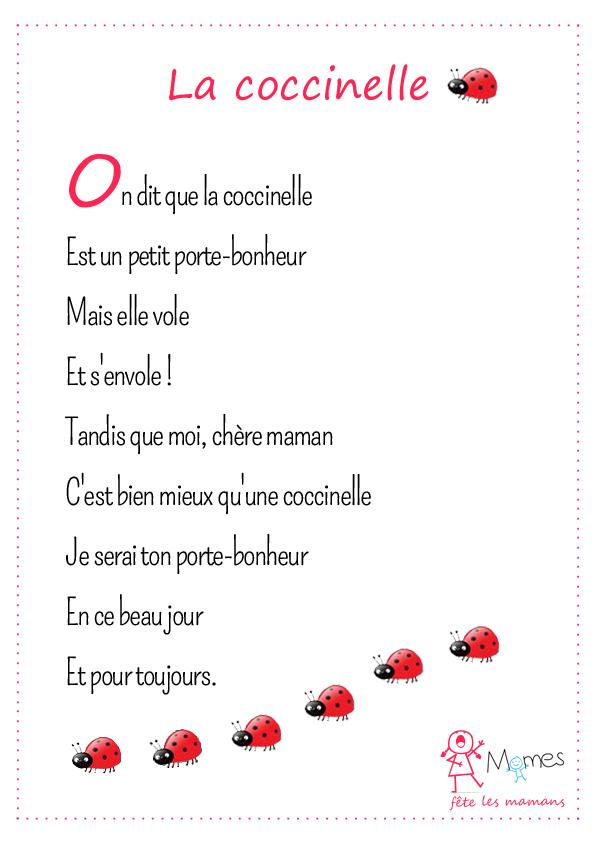 poème fete des mères La coccinelle