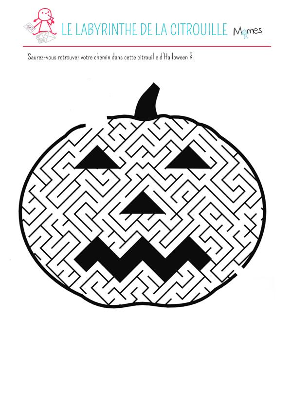 Labyrinthe de la citrouille - Citrouille d halloween a imprimer ...
