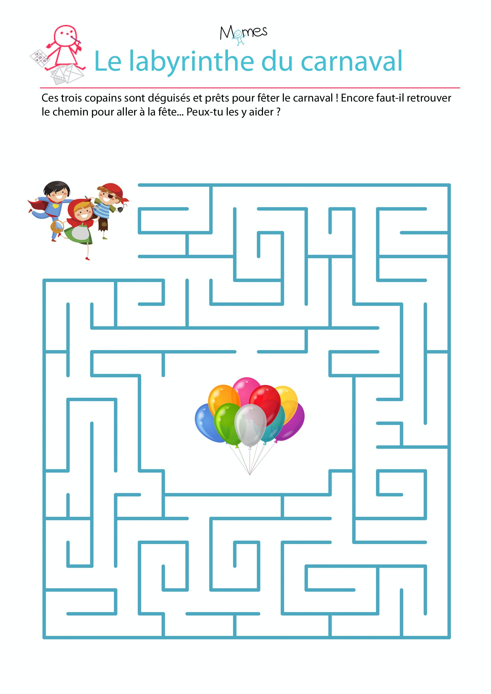 Labyrinthe du carnaval - Jeu labyrinthe a imprimer ...