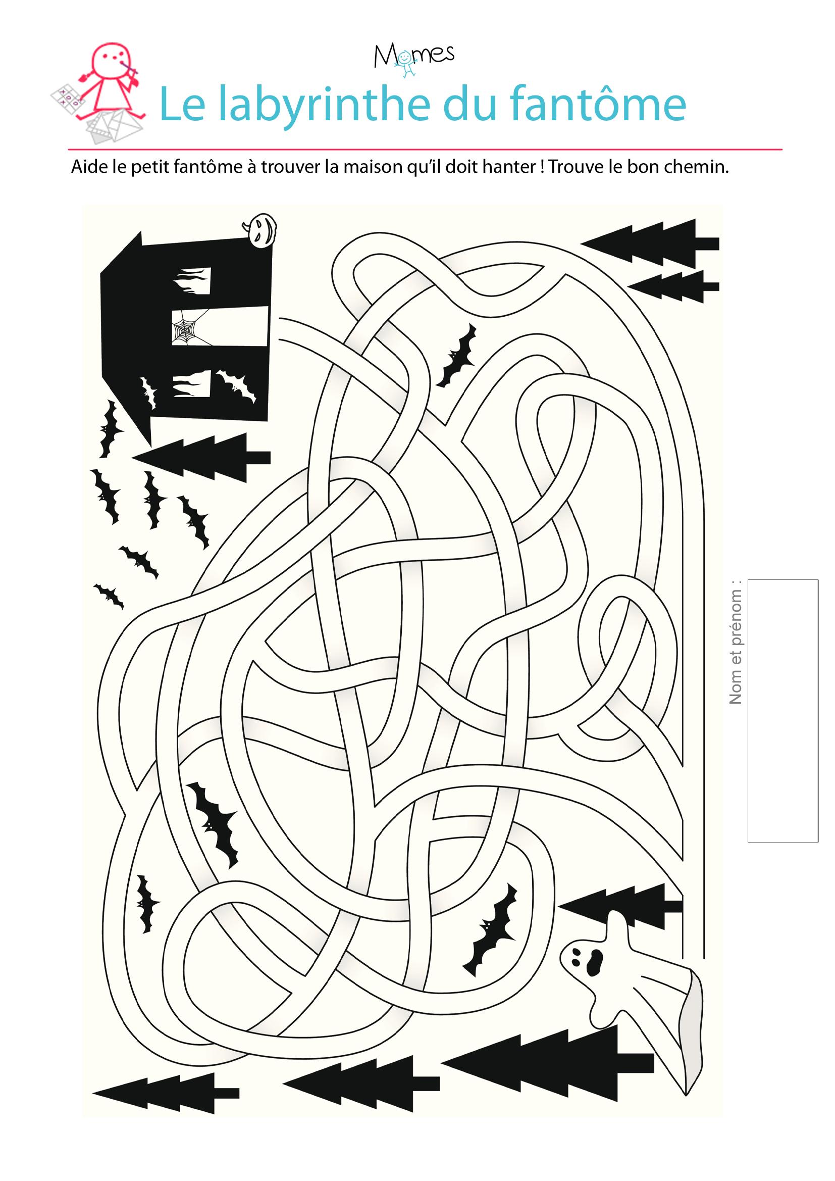 Labyrinthe du fantome - Jeu labyrinthe a imprimer ...