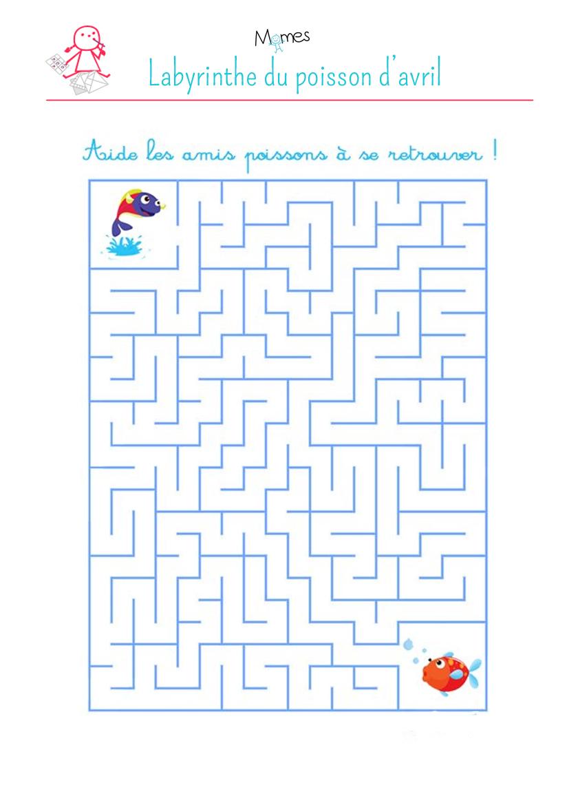 Labyrinthe du poisson d 39 avril - Jeu labyrinthe a imprimer ...