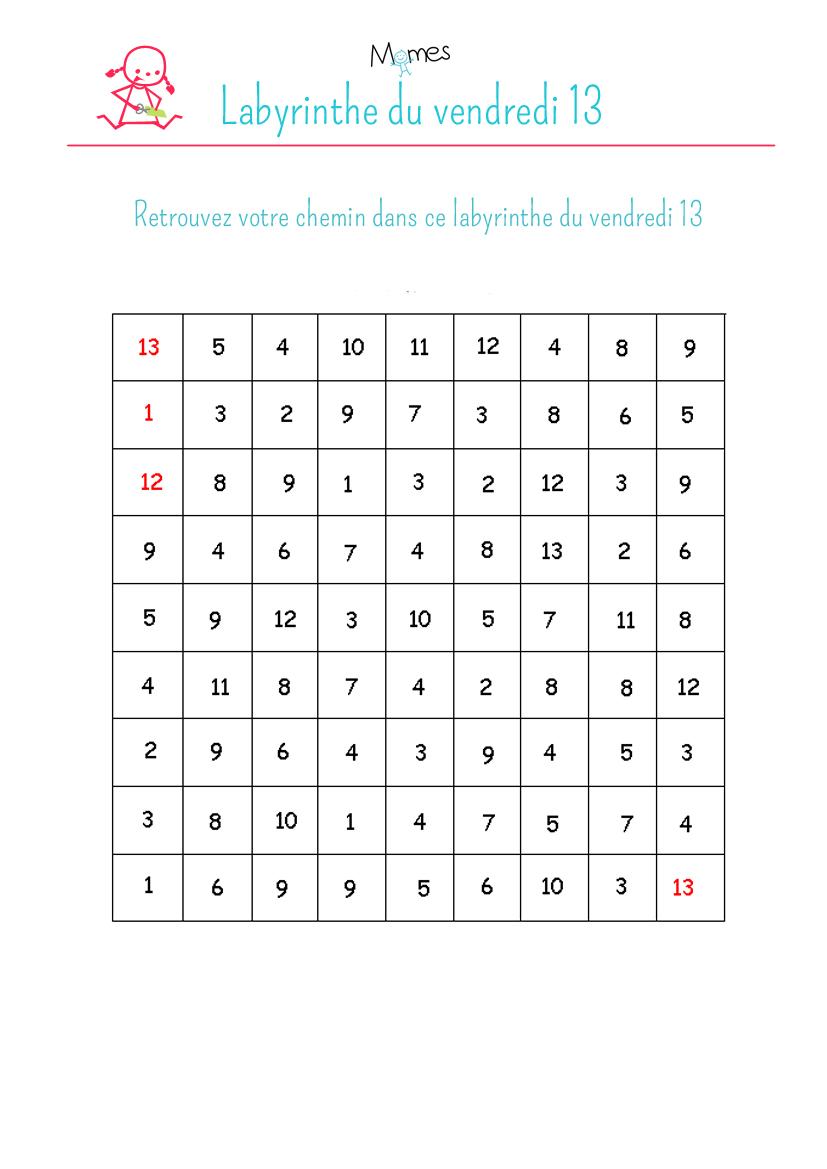 Labyrinthe du vendredi 13 for Peur du nombre 13