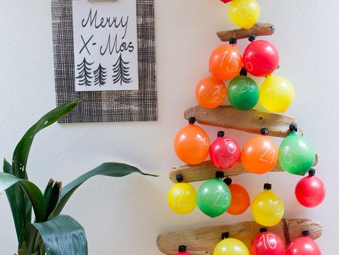 le calendrier de l 39 avent en ballons. Black Bedroom Furniture Sets. Home Design Ideas