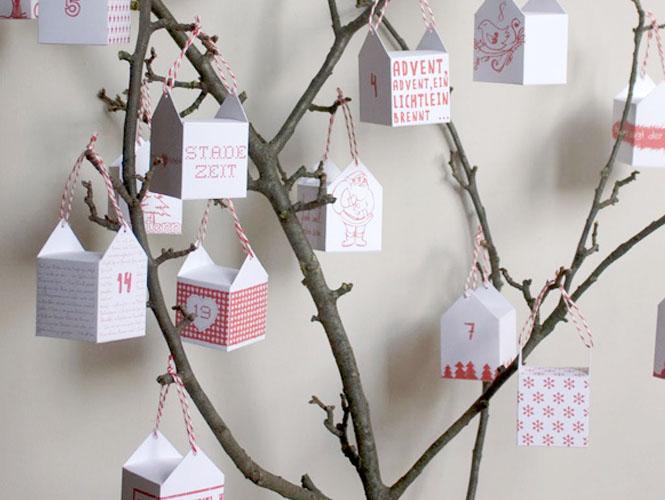 Le calendrier de l 39 avent sur une branche - Calendrier de l avent a fabriquer avec des enfants ...