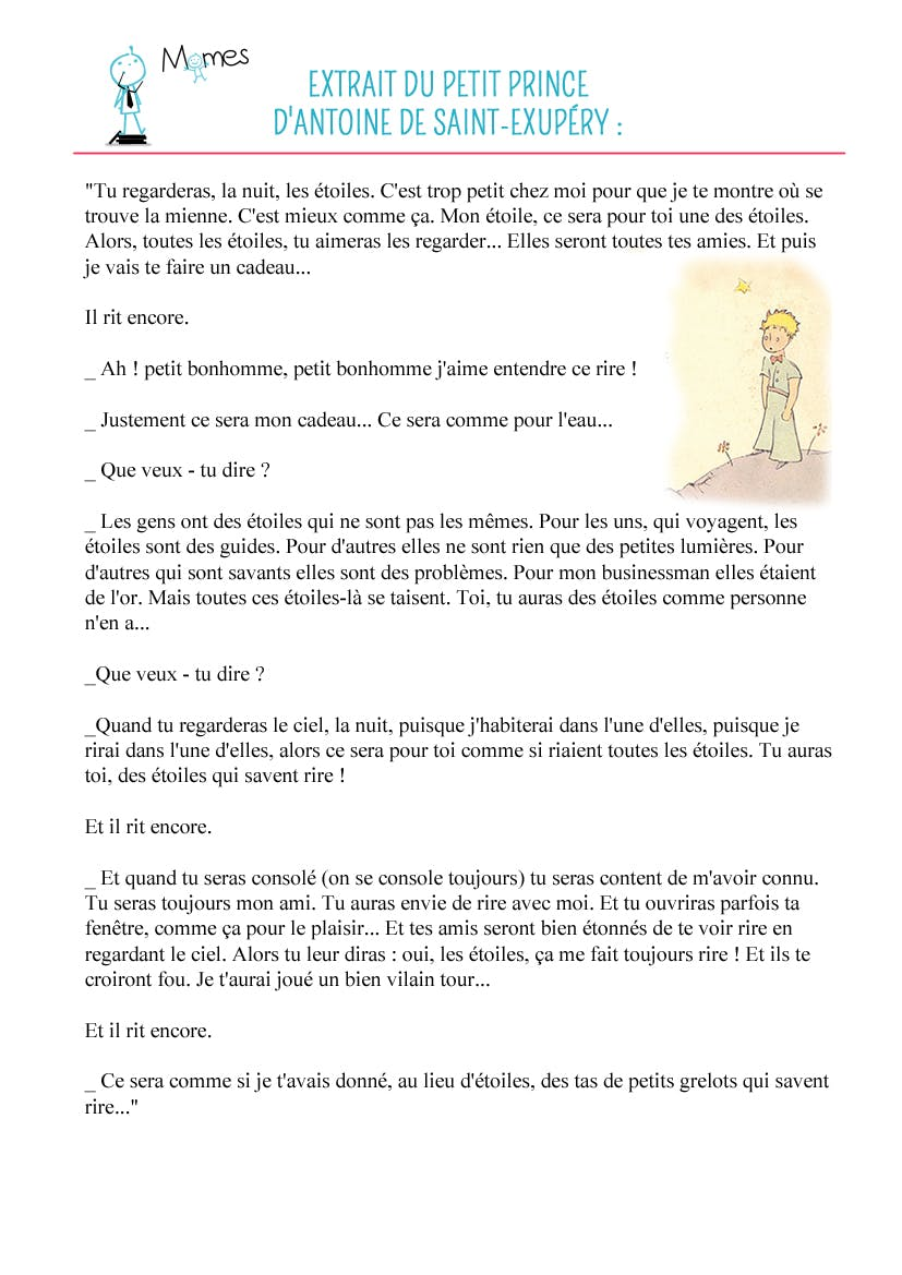 Le futur de l'indicatif texte du Petit Prince