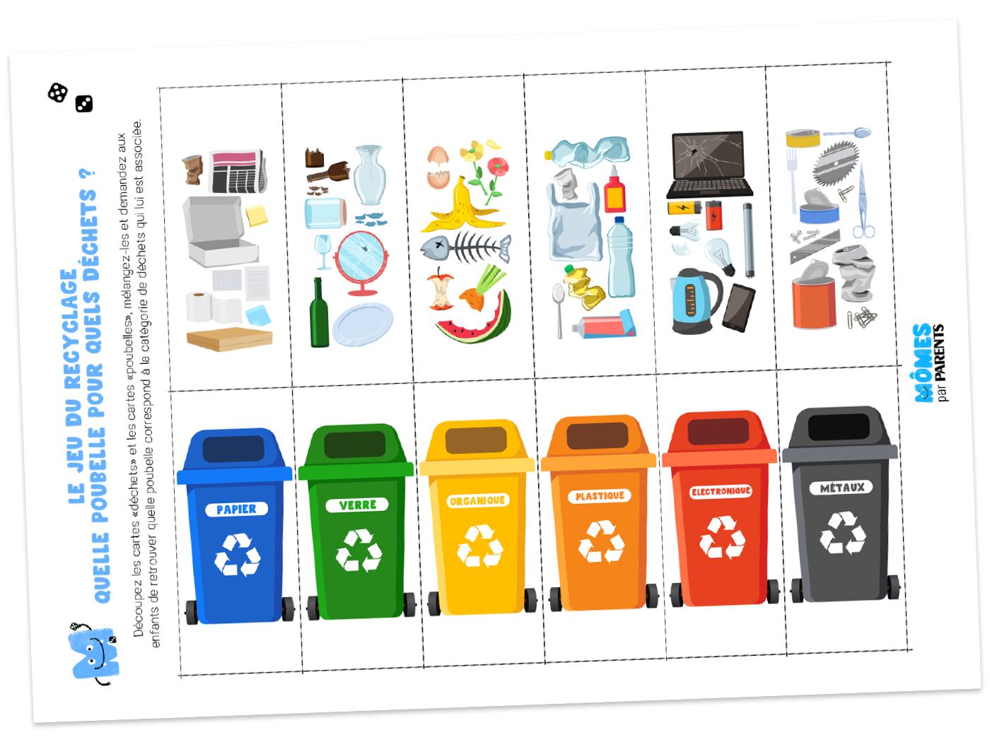 Jeu du recyclage page a imprimer