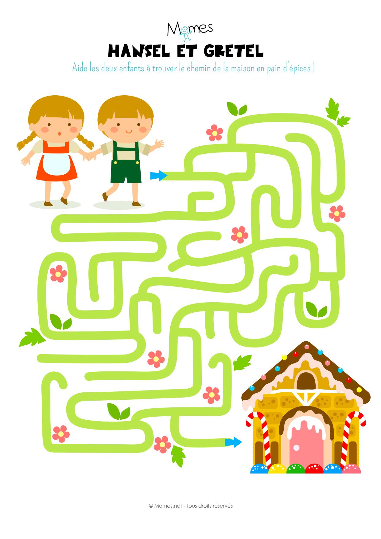 Le labyrinthe d 39 hansel et gretel - Jeu labyrinthe a imprimer ...