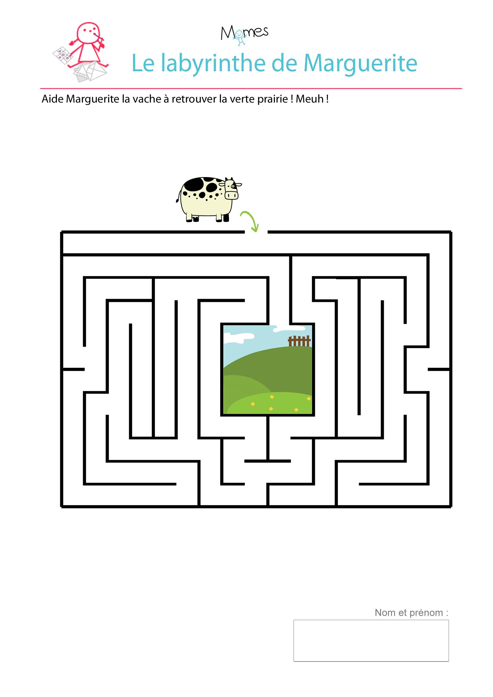 jeu labyrinthe à imprimer vache