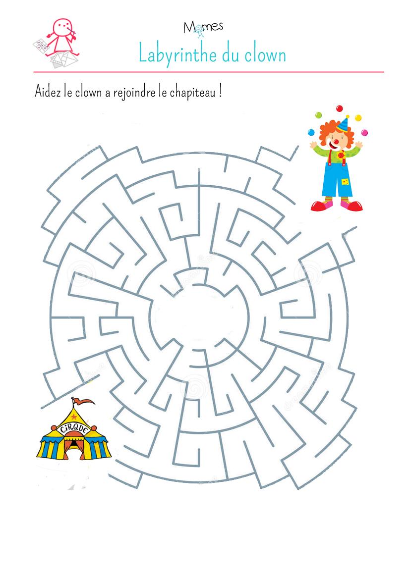 Le labyrinthe du clown - Jeux labyrinthe a imprimer ...