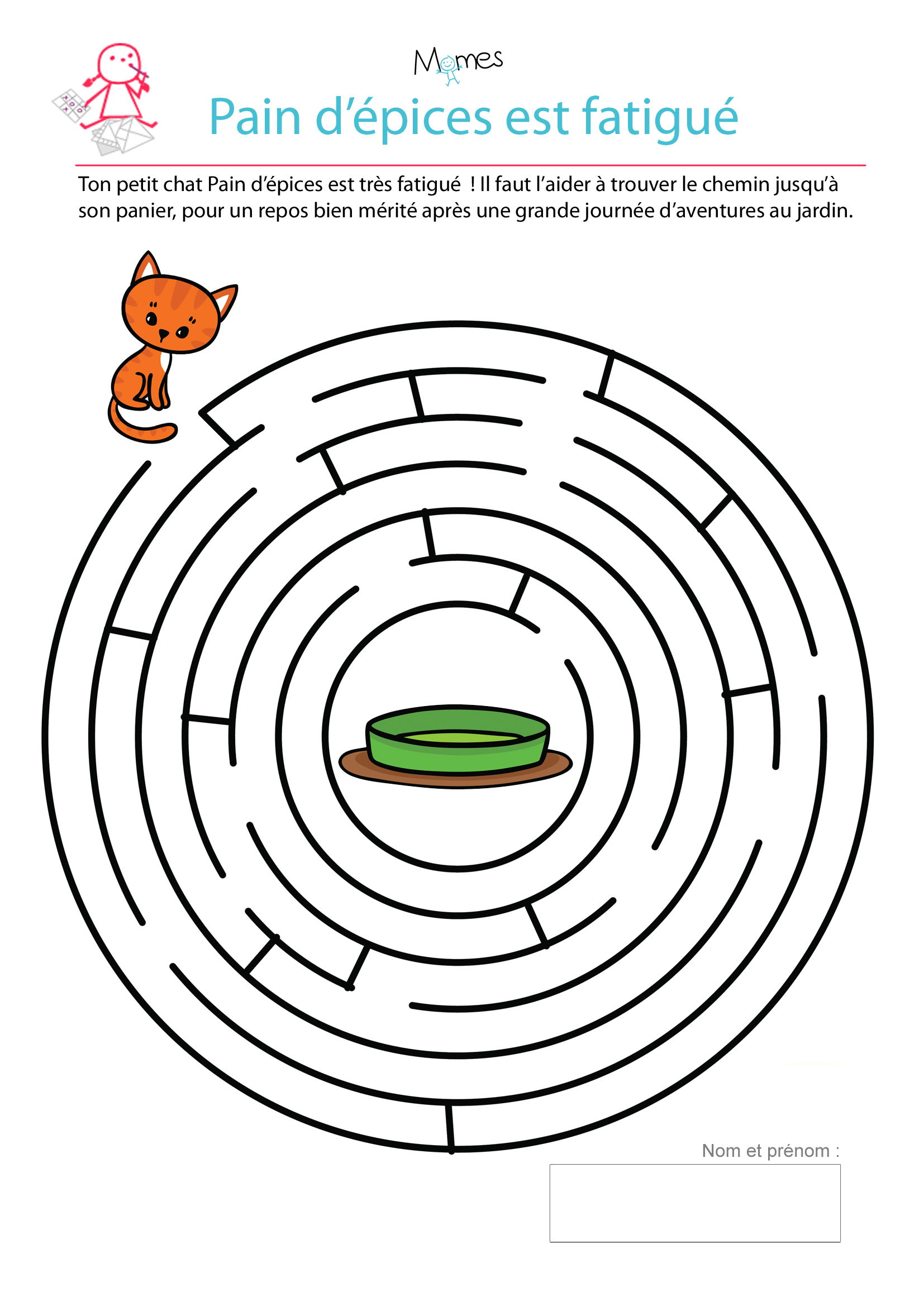 Decoration Maternelle Noel : Le labyrinthe du petit chat fatigué momes