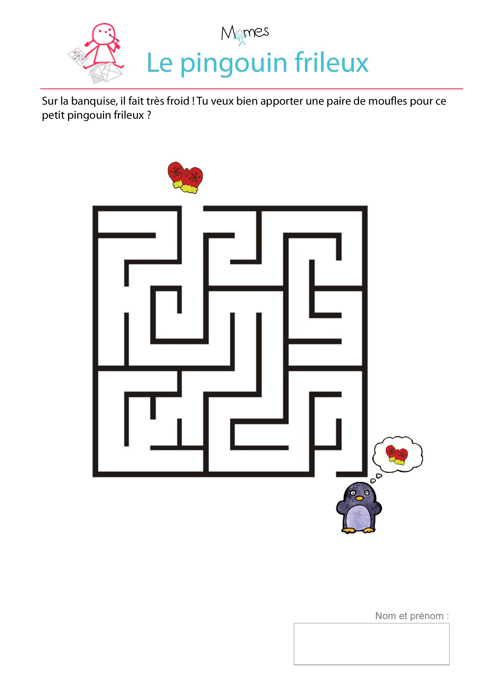 Le labyrinthe du petit pingouin frileux - Jeux labyrinthe a imprimer ...