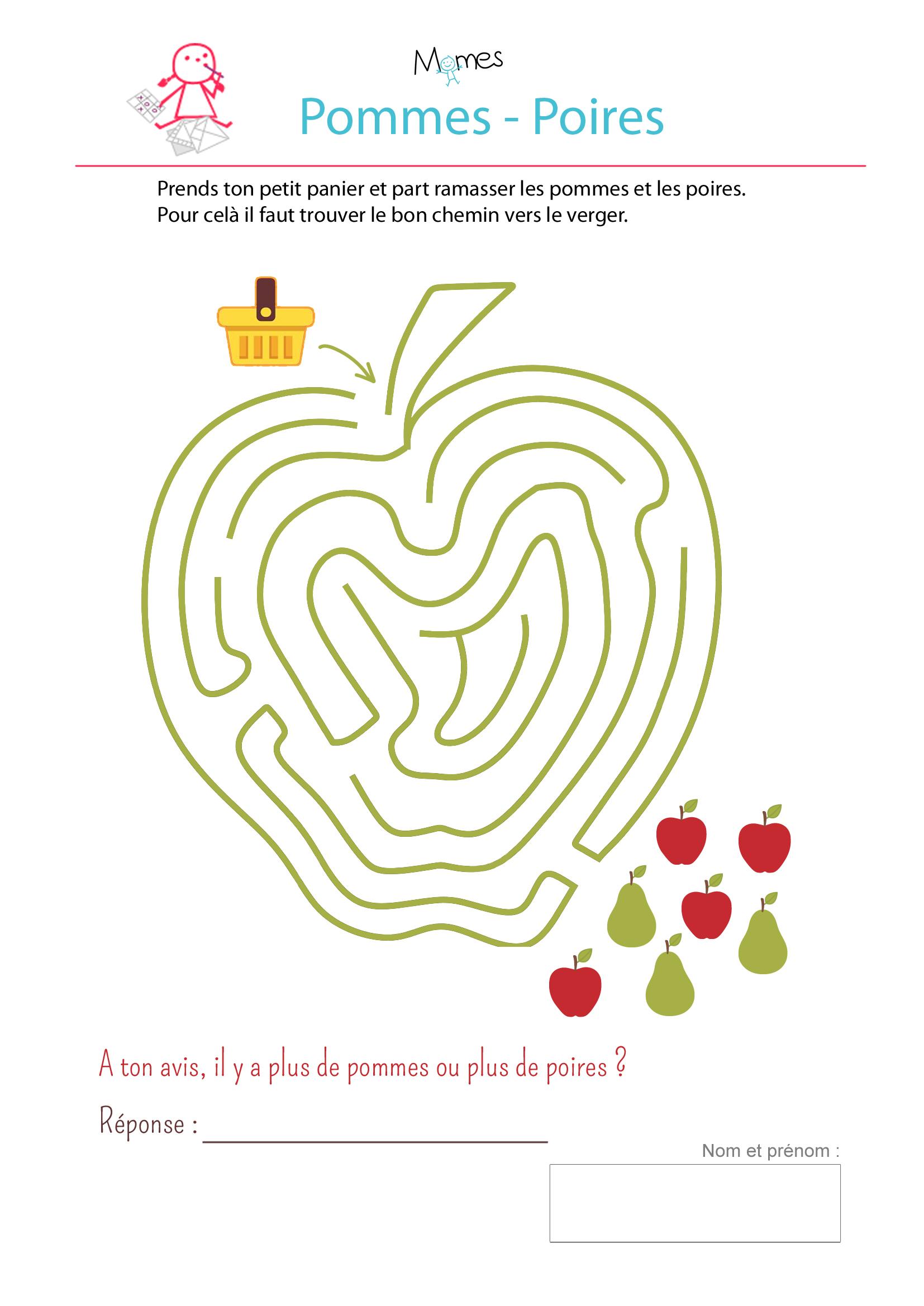 Le labyrinthe pommes poires - Jeux labyrinthe a imprimer ...