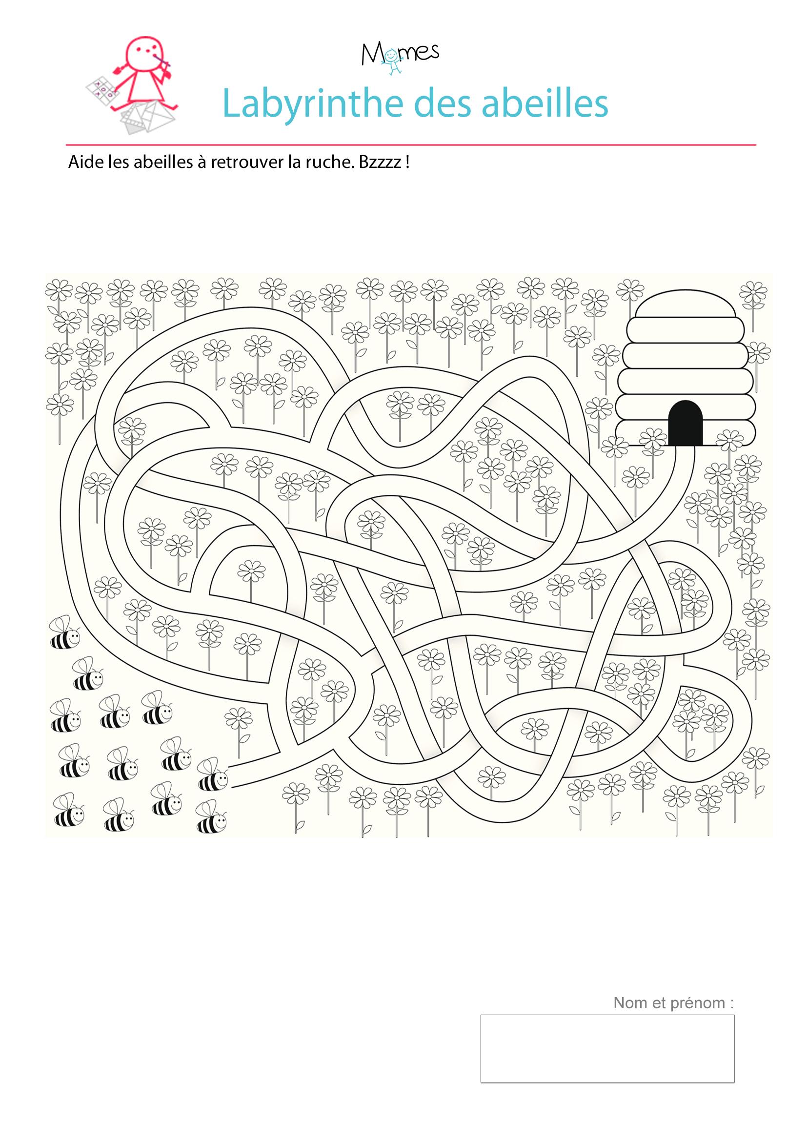 Le labyrinthes des abeilles - Jeux labyrinthe a imprimer ...