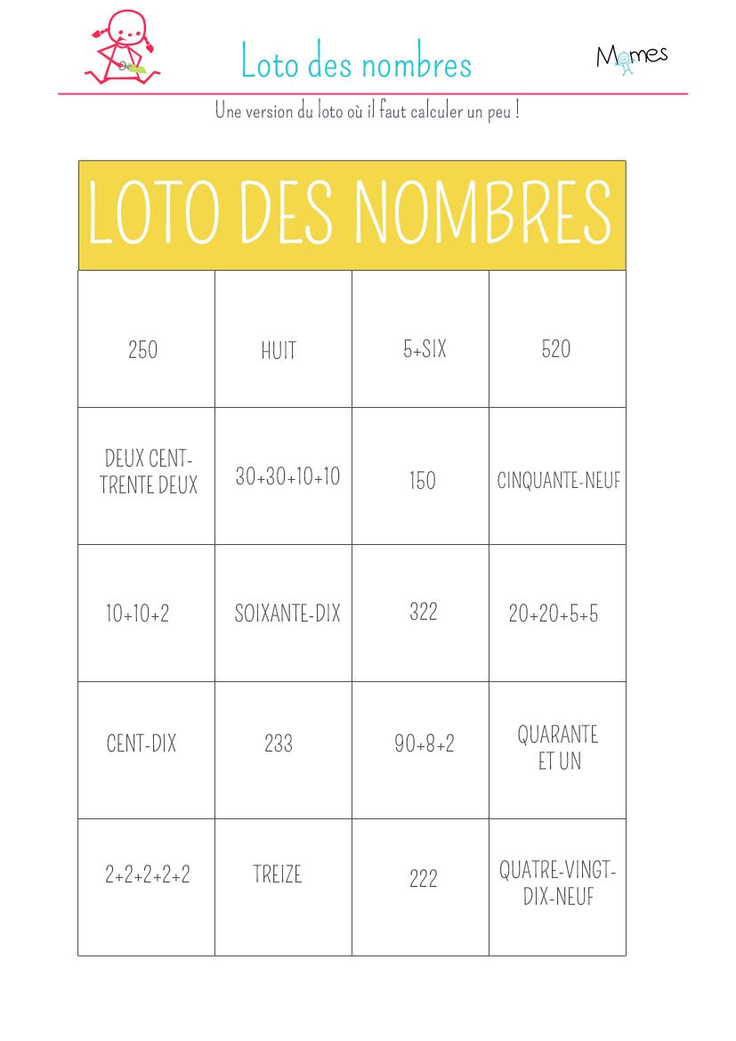 Le loto des maths