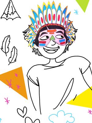 Le masque d 39 indien colorier - Masque de chat a colorier ...