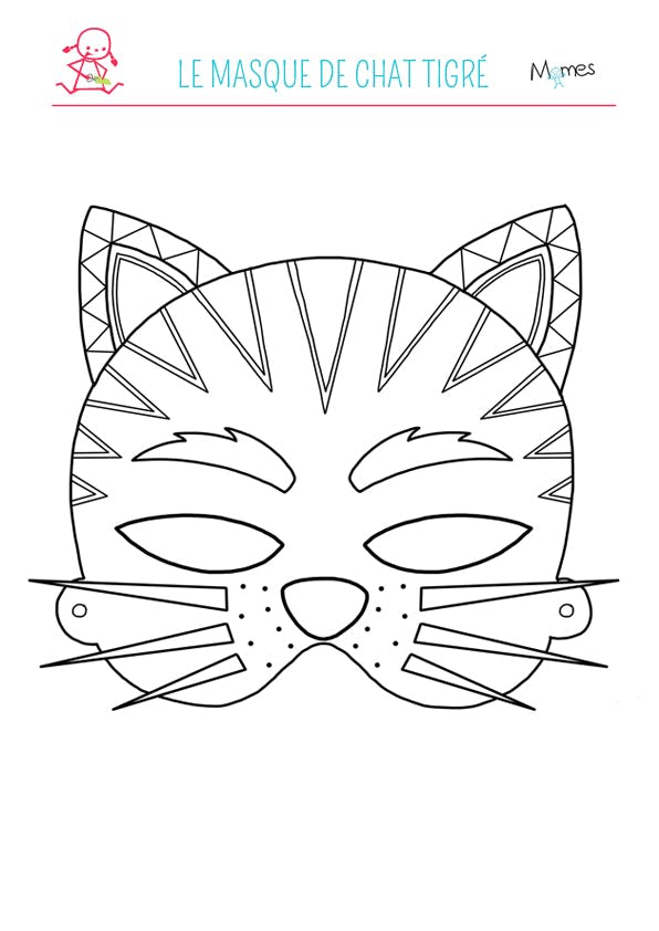 Le masque de chat tigr colorier - Chat coloriage masque ...