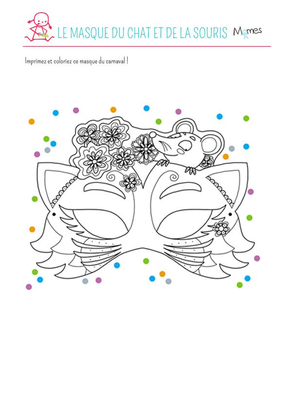 Le masque du chat et de la souris colorier - Masque de chat a colorier ...