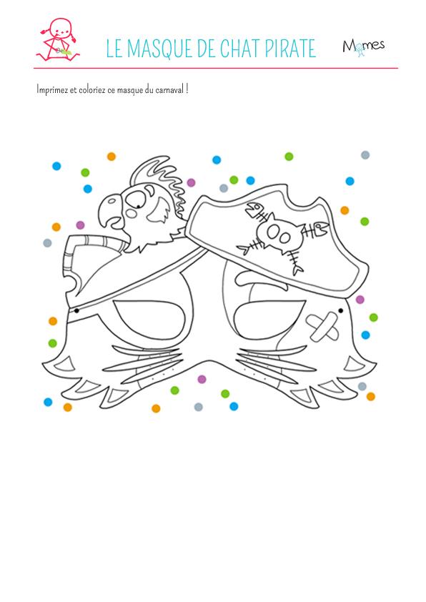 Le masque du chat pirate colorier - Masque de chat a colorier ...