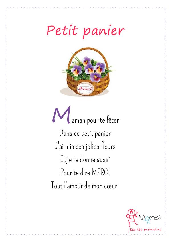 poème fête des mères Le petit panier