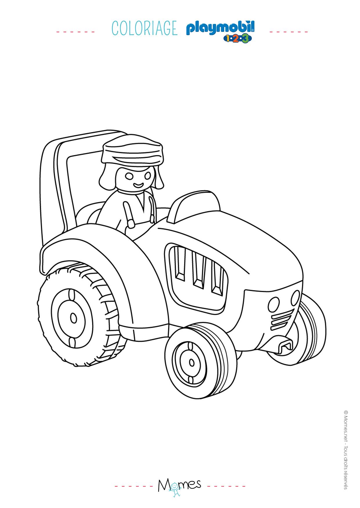 Coloriage Le fermier et le tracteur de Playmobil 123