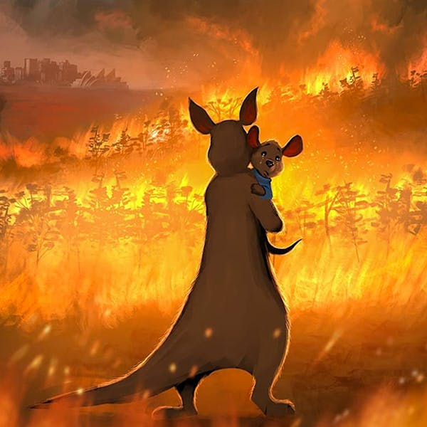 illustrations en hommage Australie incendies mégafeu solidarité animaux
