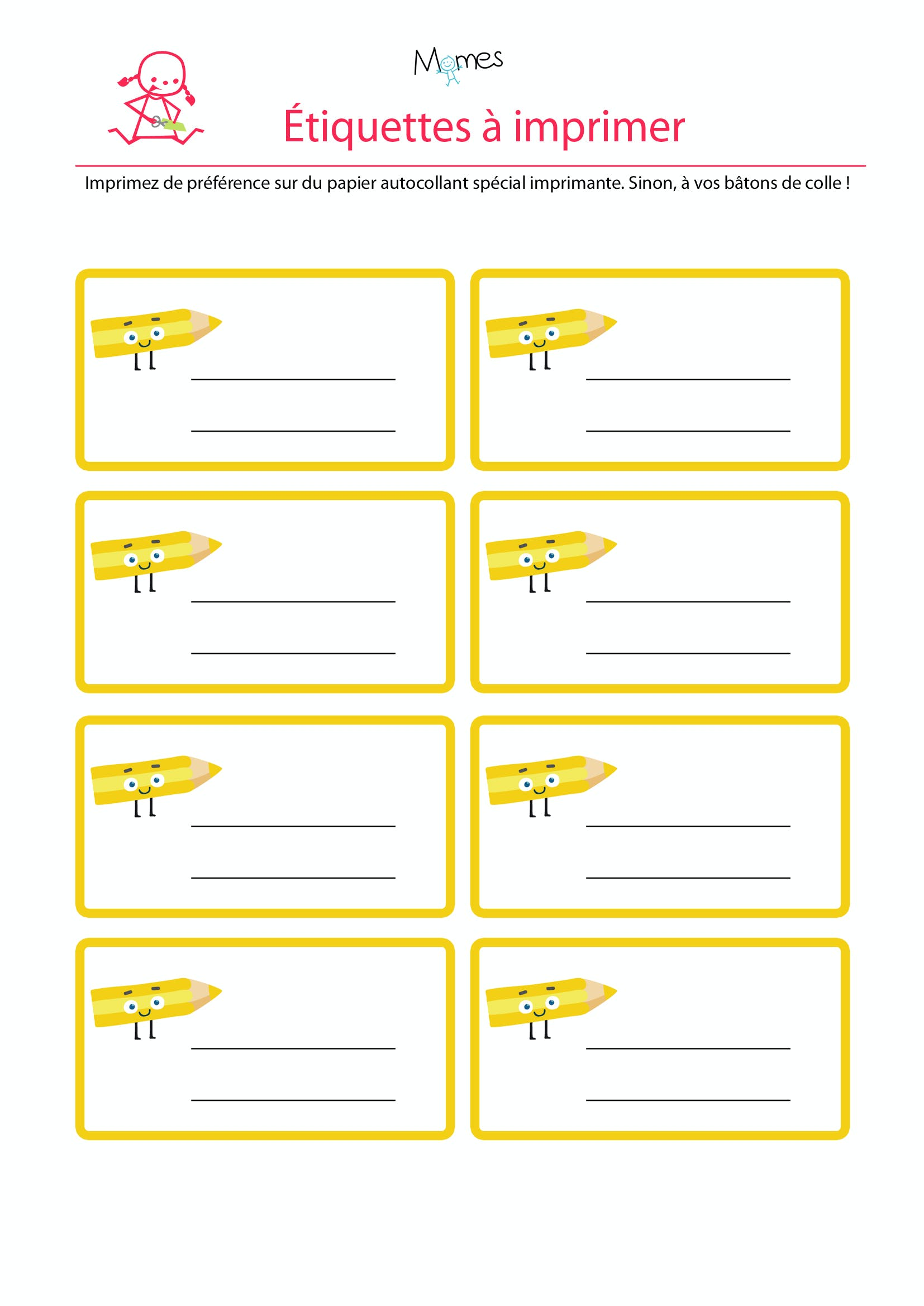 Bien connu Les étiquettes à imprimer jaune - Momes.net SR12