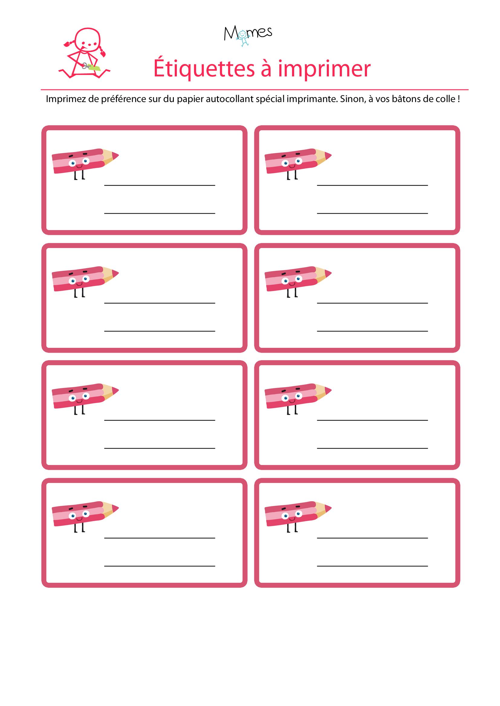 Les étiquettes à imprimer rose