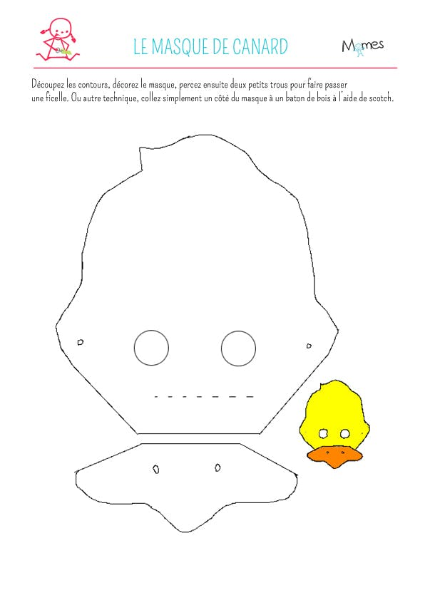 Masque carnaval canard à imprimer