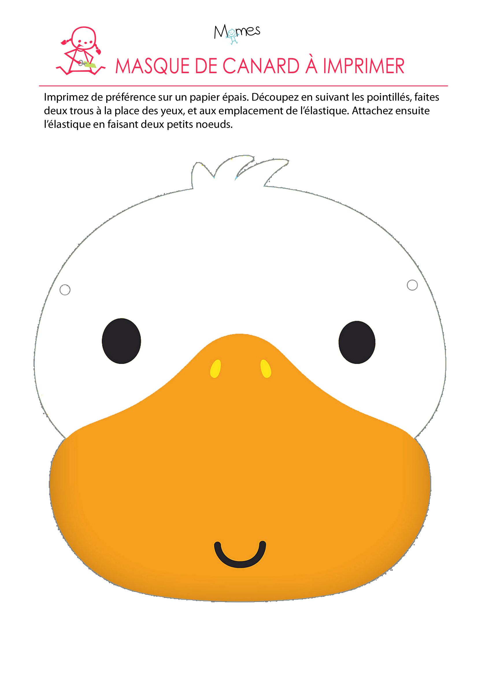Les masques du carnaval le masque de canard - Masque canard a imprimer ...