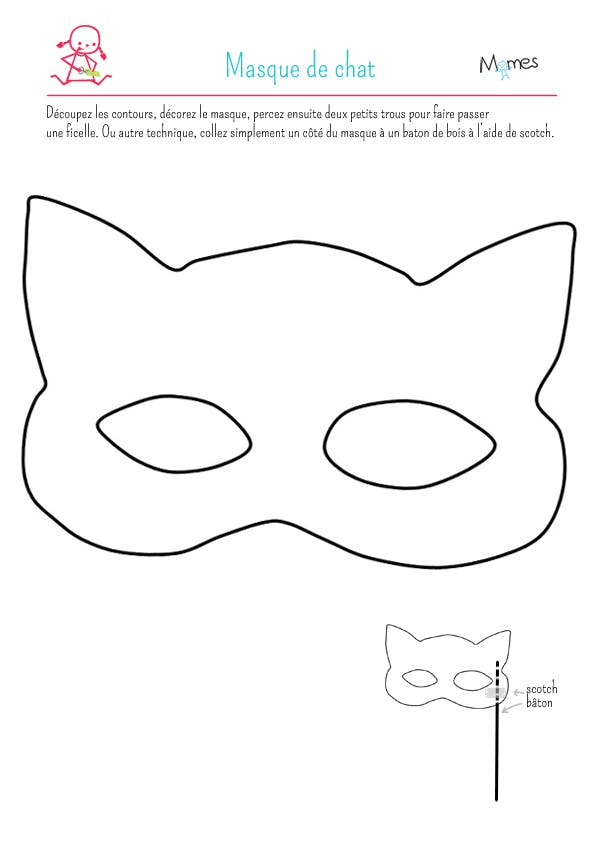 Les masques du carnaval le masque de chat - Chat coloriage masque ...