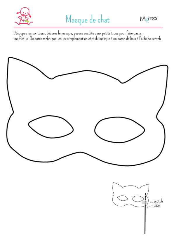 Masque de chat à imprimer et à colorier