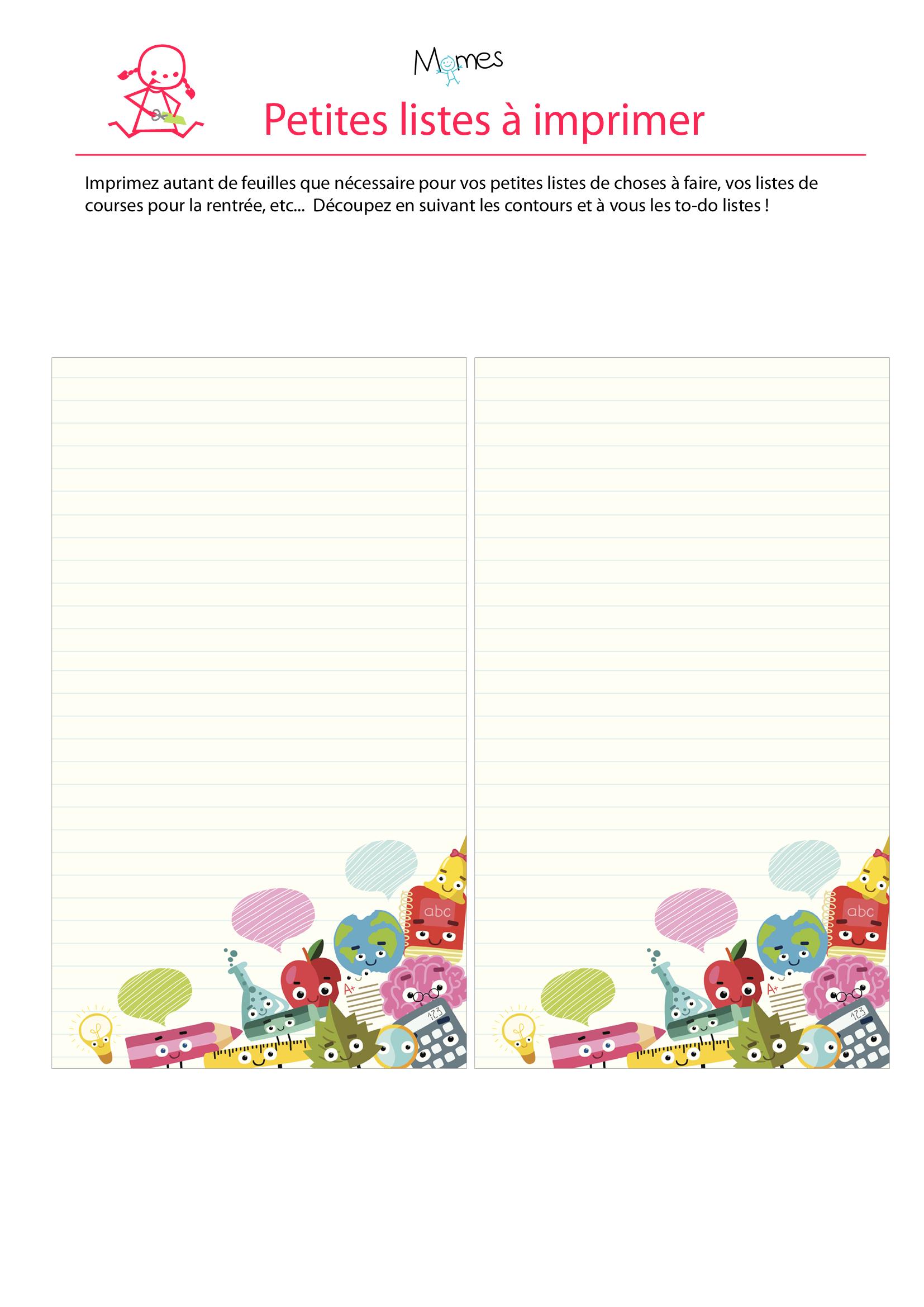 Liste à imprimer école