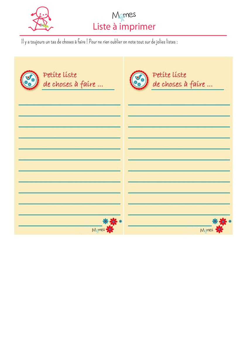 liste à imprimer printemps