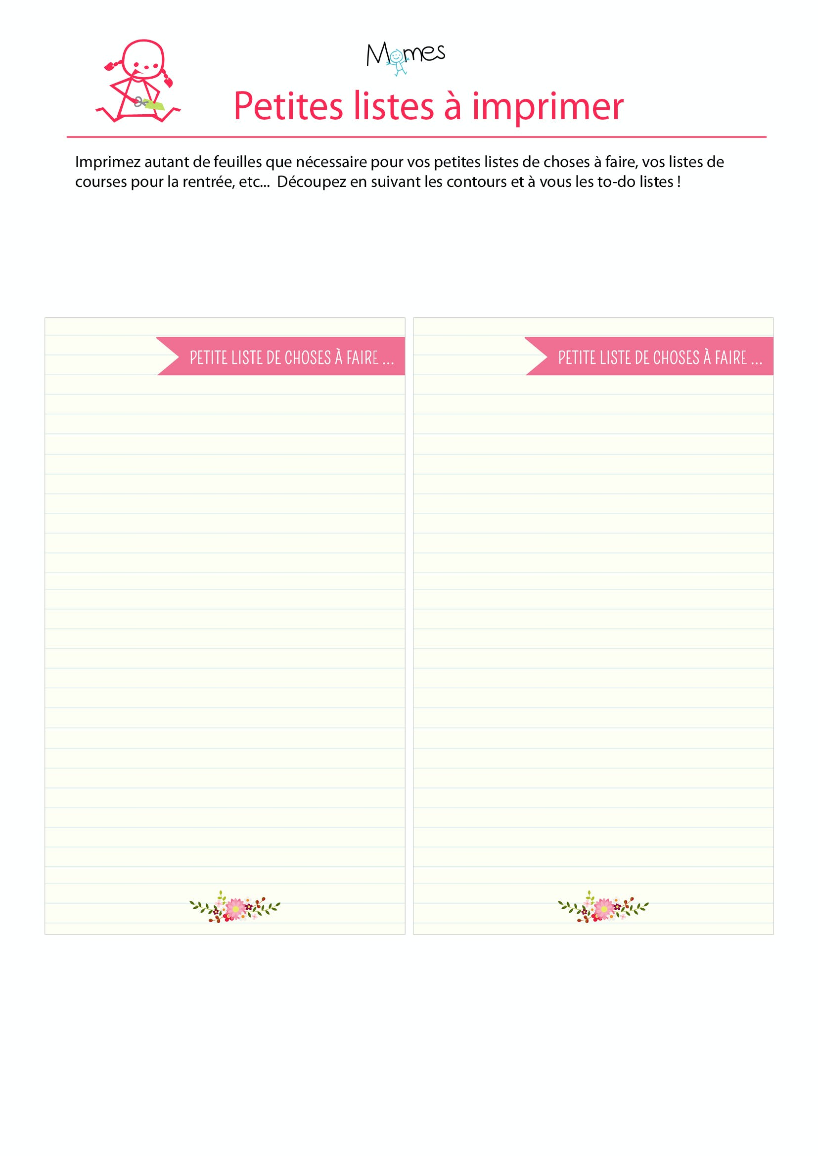 Liste à imprimer ruban