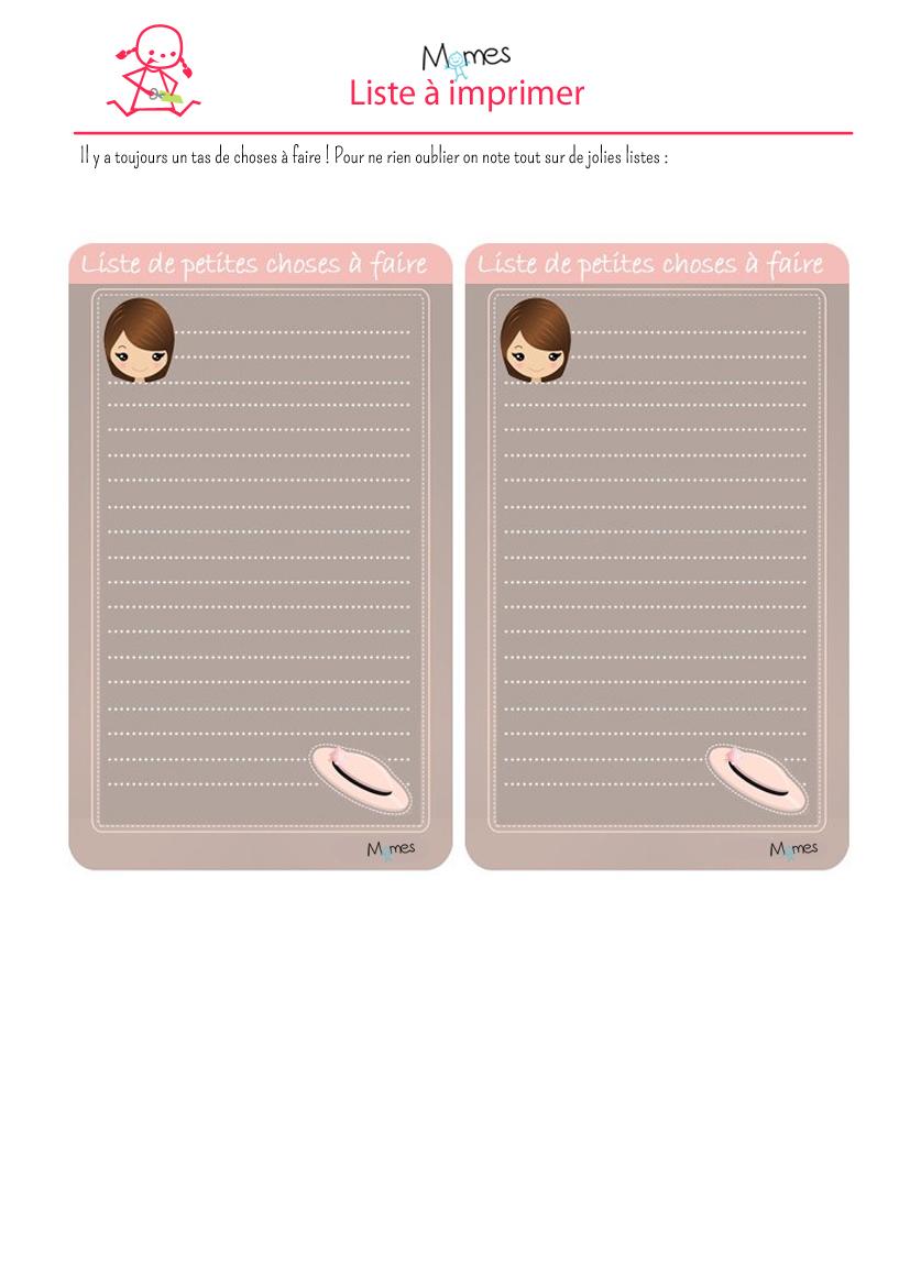listes de fille à imprimer - momes