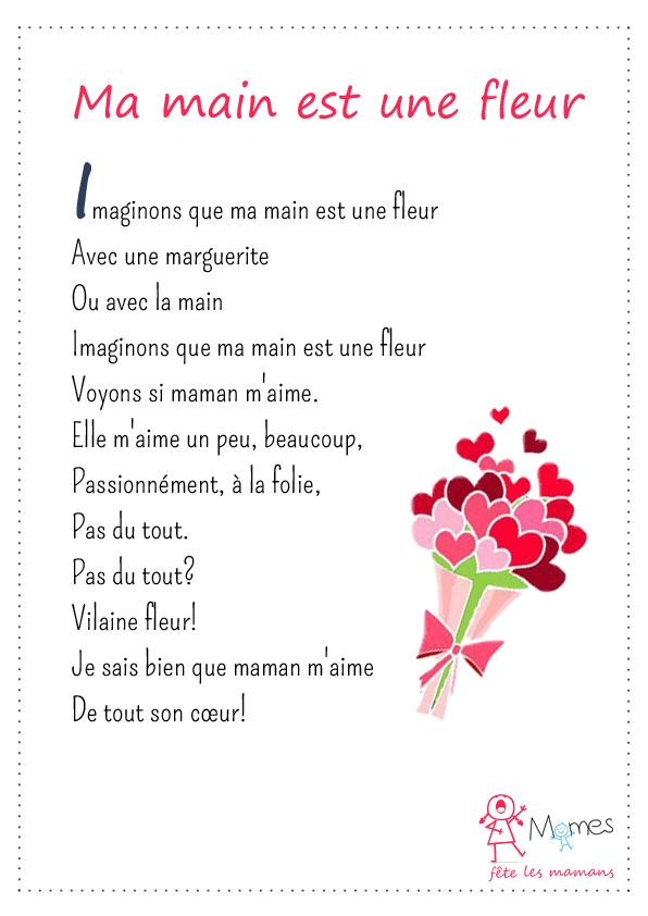 poeme fête des mères Ma main est une fleur