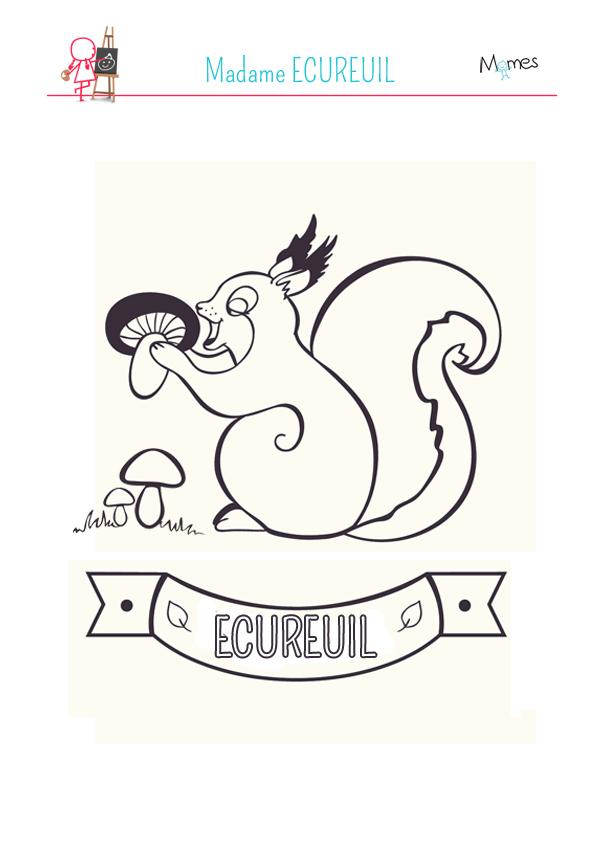Coloriage Madame Ecureuil
