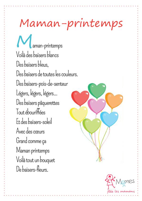 poème fete des mères maman printemps