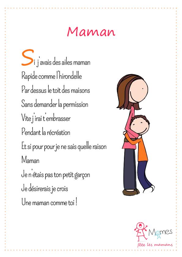 poeme fête des mères maman
