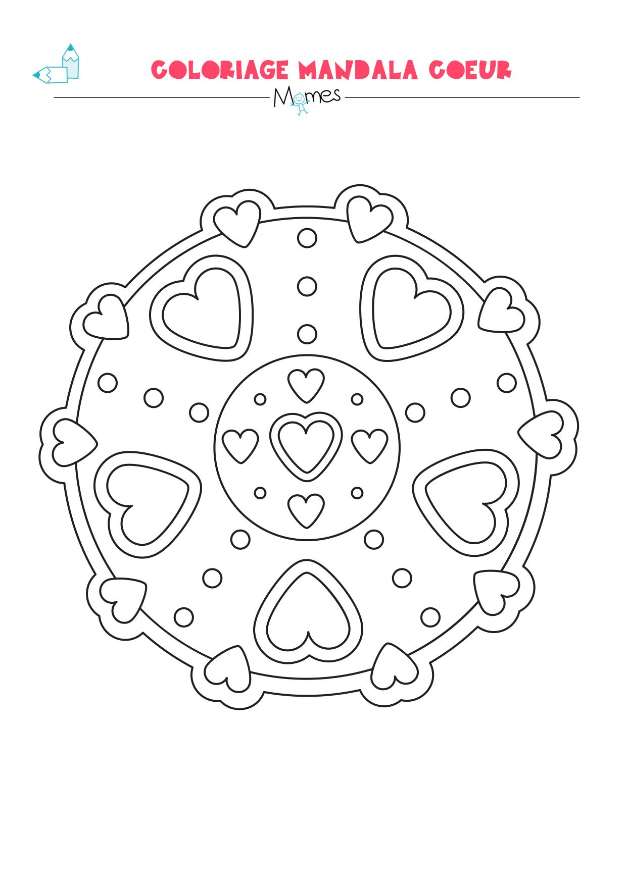 Mandala coeur colorier facile - Coloriage de coeurs ...
