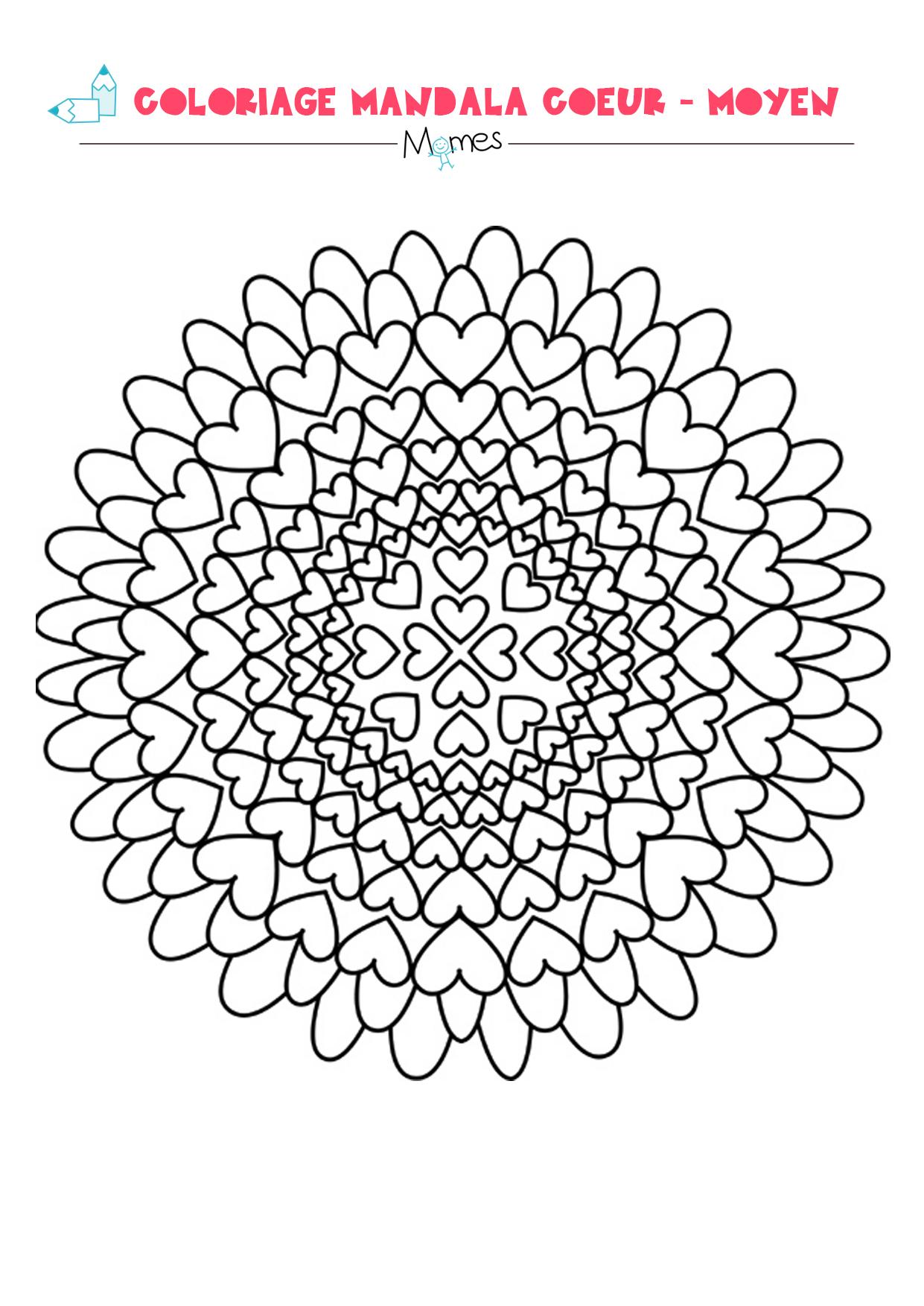 Mandala coeur colorier facile - Coloriage mandala enfants ...