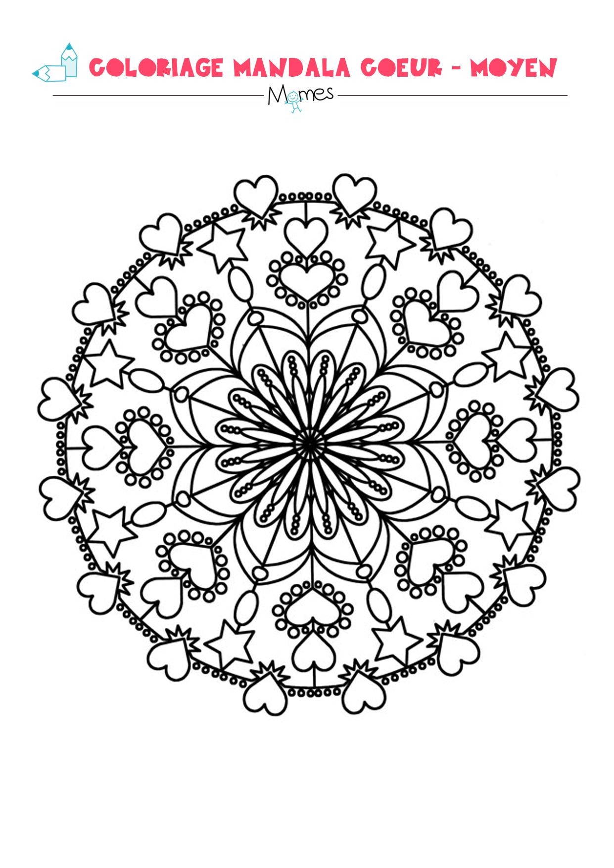 Mandala coeur colorier moyen - Coloriage avec des coeurs ...