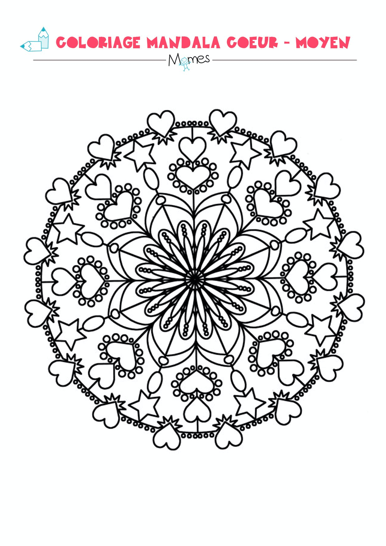 Mandala coeur colorier moyen - Mandala de coeur ...