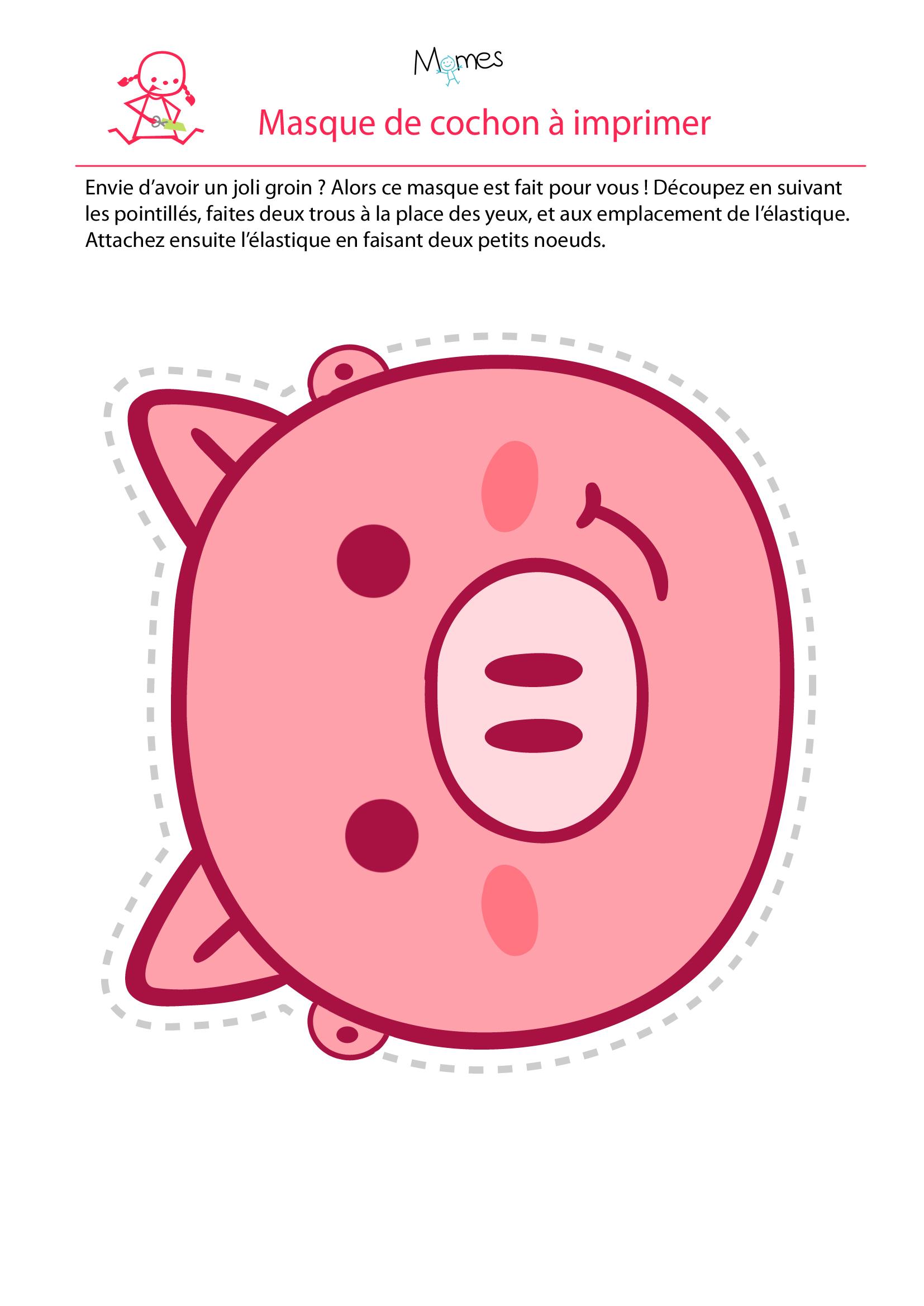 Masque de cochon à imprimer